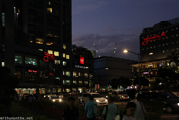 Glorietta malls Ayala center Manila night Philippines