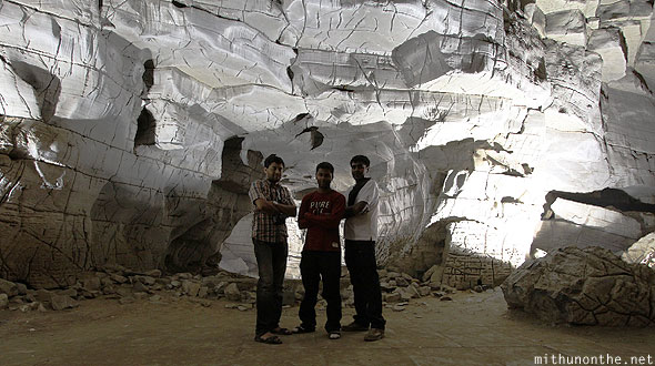 Group photo Belum caves white limestone Andhra Pradesh India