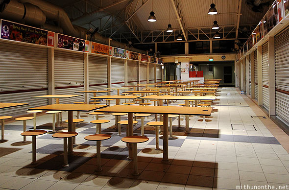 Hawker centre closed tables Geylang Singapore