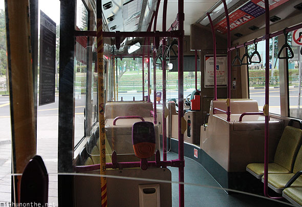 Inside SBS bus to Jurong bird park Singapore