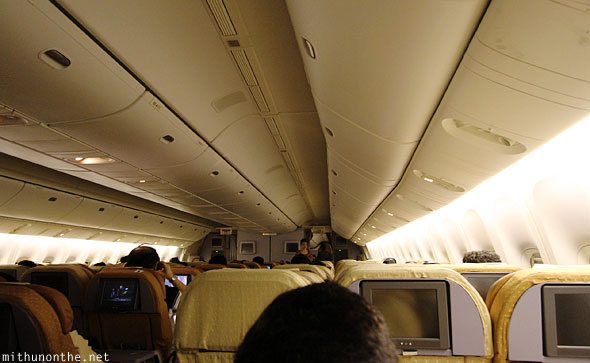 Inside Singapore Airlines Boeing plane Bangalore flight