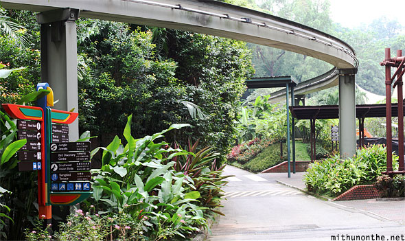 Jurong bird park monorail track panorama