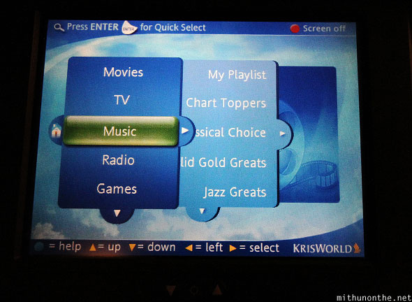 Krisworld menu inflight entertainment Singapore Airlines