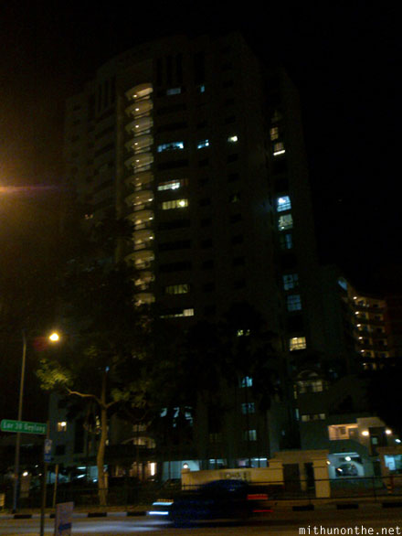 Lor 28 Geylang apartment night Singapore