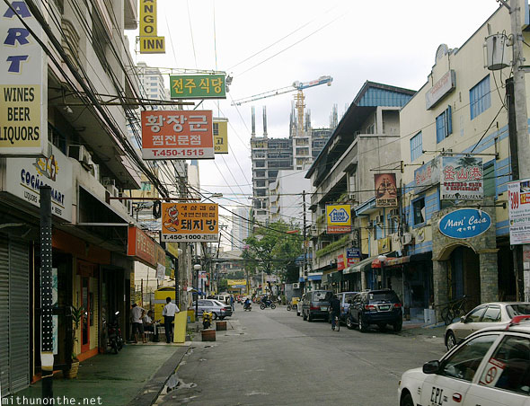 Malate Korean stores Manila morning Philippines