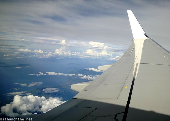 Malaysia Airlines Boeing airplane wing Philippines islands