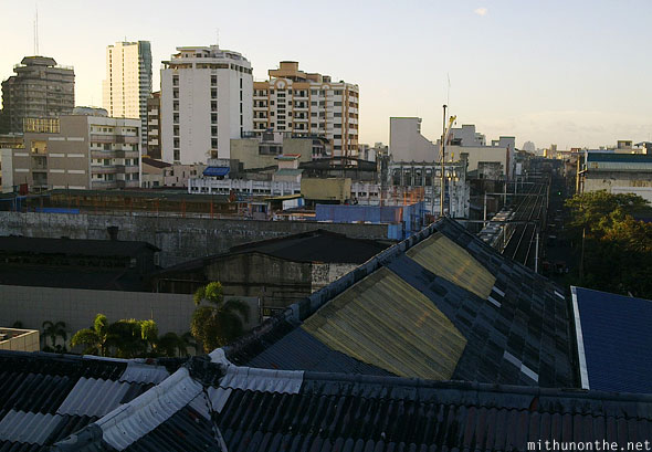 Manila city view from lrt platform