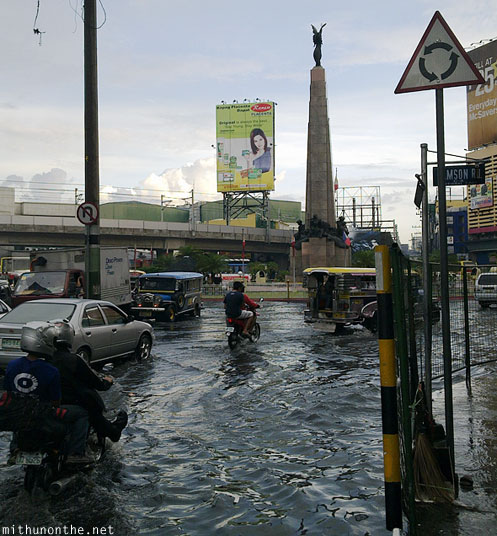Monumento flooded after rains Manila Philippines