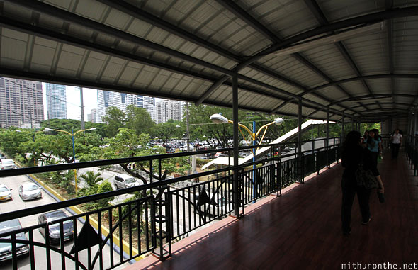 Ortigas overhead pedestrian bridge Manila Phillipines