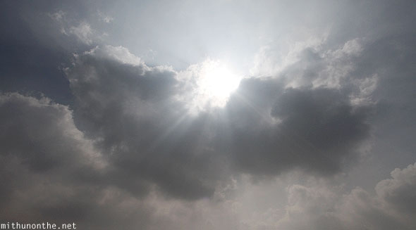 Sun rays through clouds Andhra Pradesh