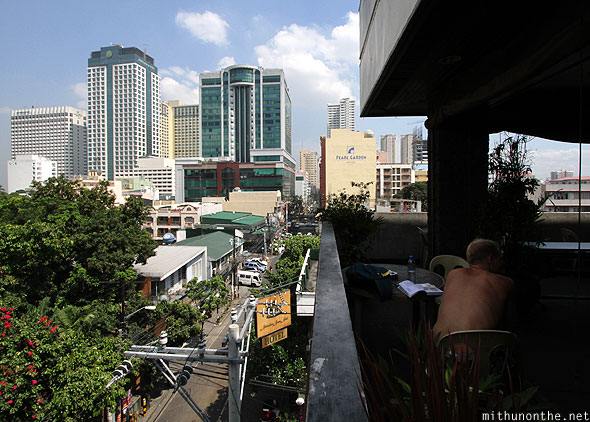 View from Friendly's Guesthouse cafe Malate Manila Philippines