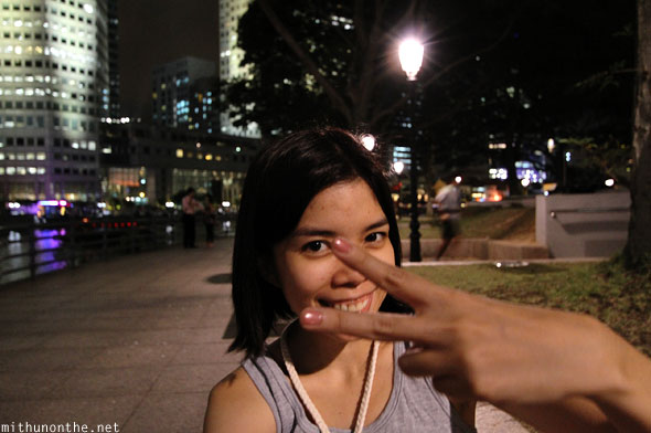 Aimee Marie peace sign Singapore