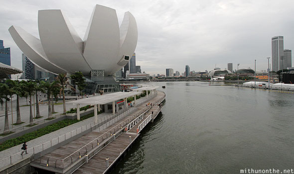Arts Science museum Marina Bay from Helix bridge Singapore