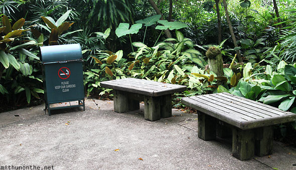 Benches dustbin Singapore orchid garden