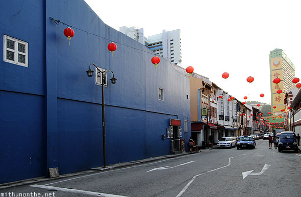Blue building Chinatown Singapore