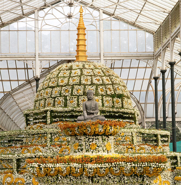Buddhist stupa floral temple Lal Bagh Republic day show panorama