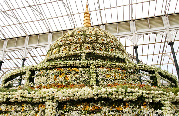 Buddhist stupa made of flowers Lal Bagh Bangalore