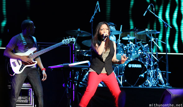 Charice performing on stage Singapore F1 Friday concert