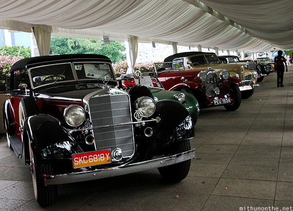 Classic Mercedes drivers parade cars display Singapore GP