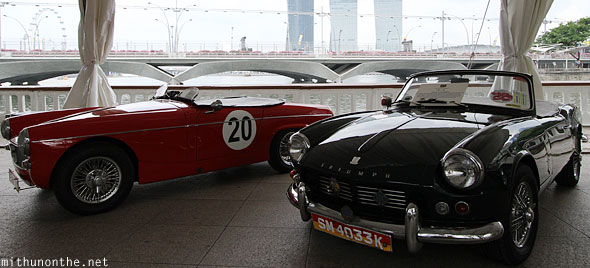 Classic Triumph car display Singapore Grand Prix