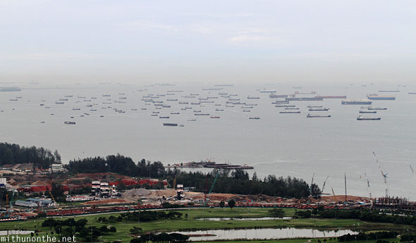 Container ships sea Singapore