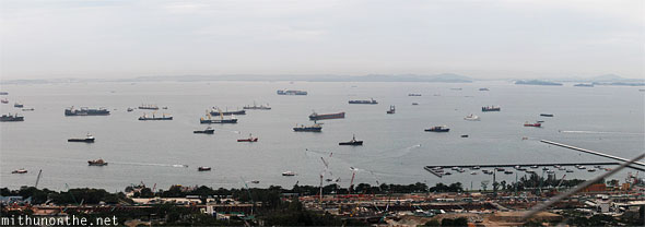 Container ships waiting Singapore dock panorama