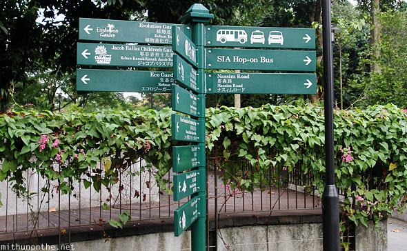 Directions board Singapore botanic park
