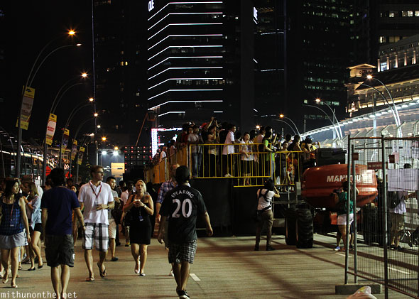 Esplanade Drive standing platforms Saturday night Singapore gp