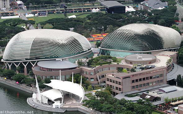 Esplanade theatres by the Bay aerial view Singapore