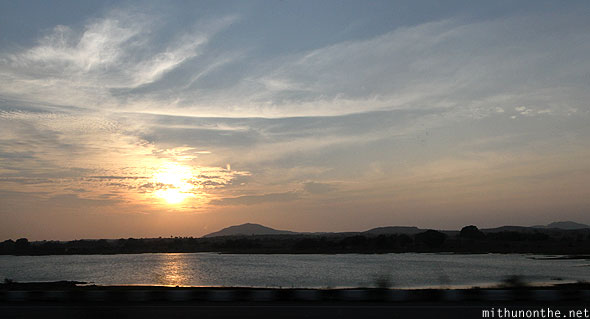 Evening sun NH7 lake India