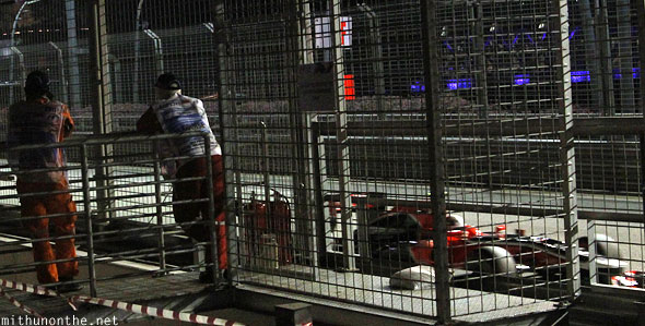 F1 car barricades Singapore grand prix
