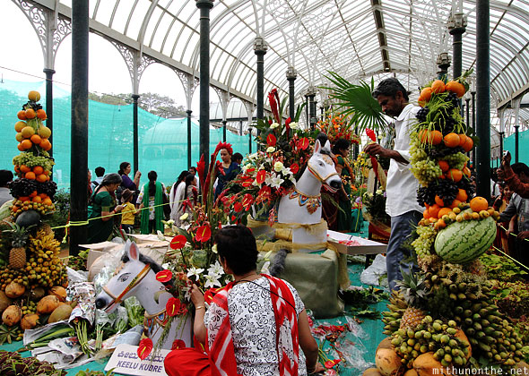Floral arrangements Lal Bagh flower show glasshouse