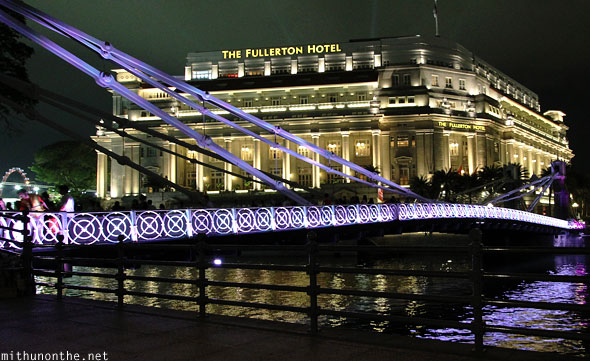 Fullerton hotel Singapore river bridge at night