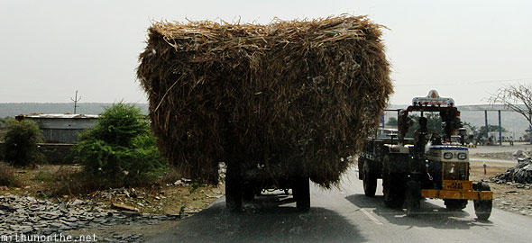 Haystack truck Andhra Pradesh road India