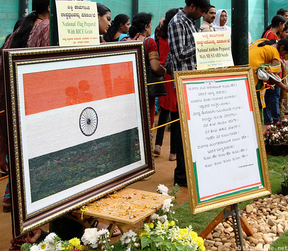 Indian flag national anthem rice mustard Lal Bagh display