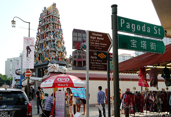 Indian temple Pagoda street Chinatown Singapore