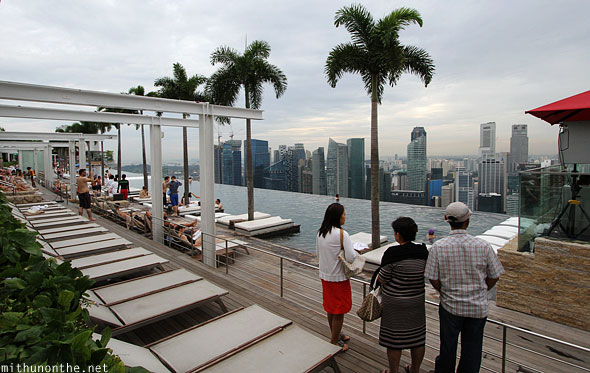 Infinity pool trees Marina Bay Sands hotel guests Singapore