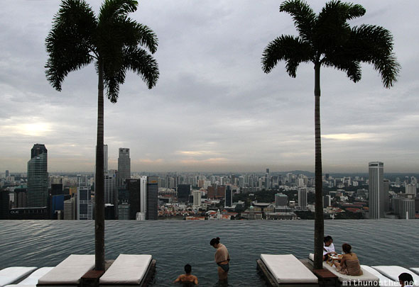 Infinity pool trees Marina Bay sands hotel Singapore