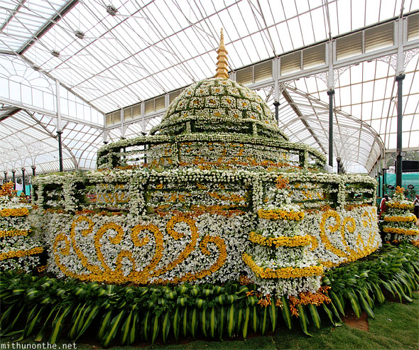 Korean buddha stupa flower design Lal Bagh Republic day show Bangalore