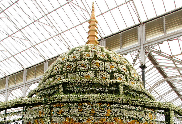 Korean buddhist temple stupa flower design Lal Bagh display
