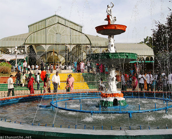 Lal Bagh fountain glasshouse Bangalore India