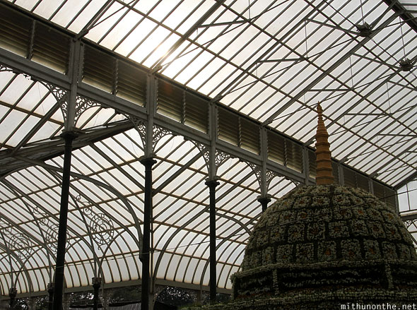 Lal Bagh glasshouse roof buddha stupa floral design