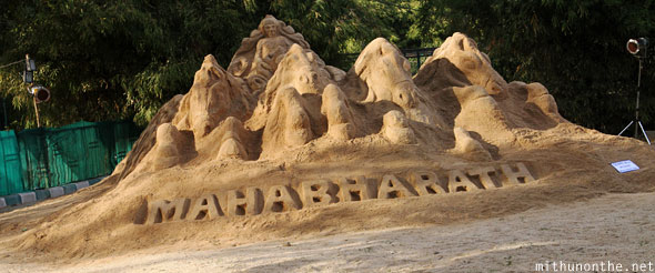 Mahabharath sand artwork creation Lal Bagh Bangalore