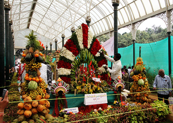 Mandhara school of floral arts section Lal Bagh flower show Bangalore