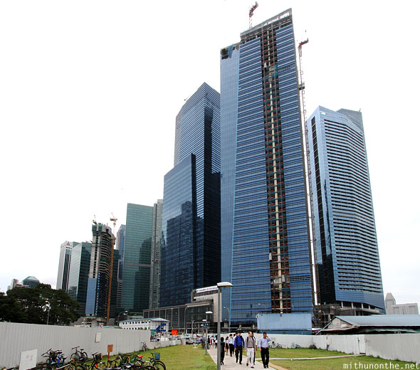 Marina Bay blue building construction Singapore