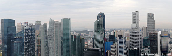 Marina Bay financial center buildings panorama