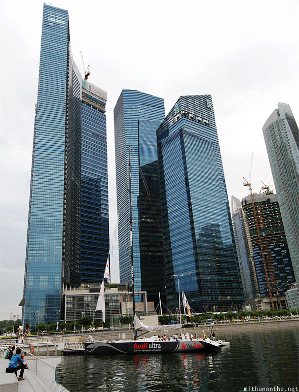 Marina Towers blue glass Audi boat Singapore