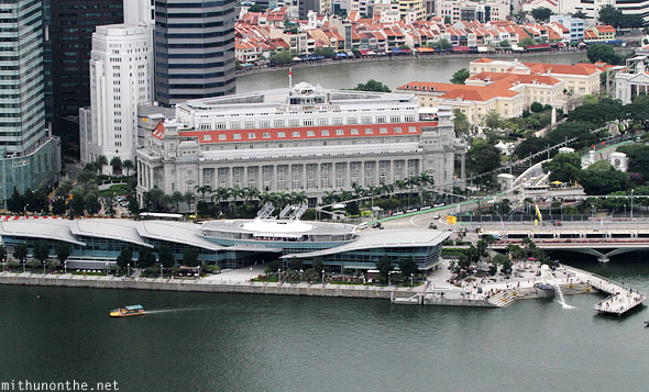 One Fullerton Hotel aerial view Singapore