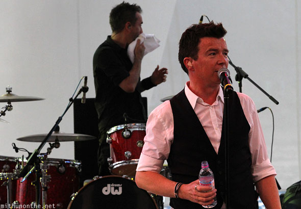 Rick Astley drinking water Singapore concert