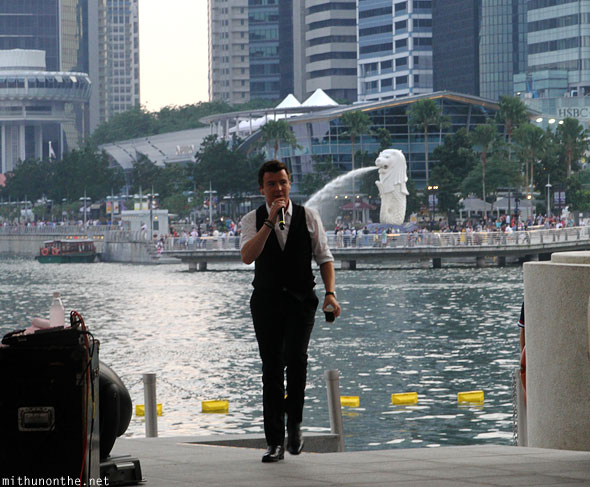 Rick Astley entering stage Singapore F1 concert